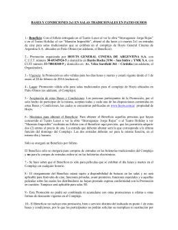 BASES Y CONDICIONES 2x1 EN SALAS TRADICIONALES