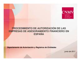 Procedimiento de autorización de las Empresas de Asesoramiento