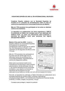 VODAFONE ESPAÑA SE UNE AL DÍA INTERNACIONAL SIN