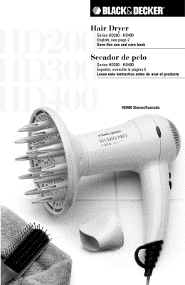 Hair Dryer Secador de pelo - Applica Use and Care Manuals