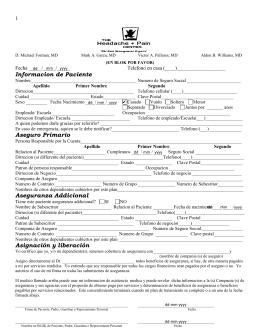 Informacion de Paciente Aseguro Primario Aseguranza Addicional
