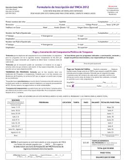 Formulario de Inscripción del YMCA 2012