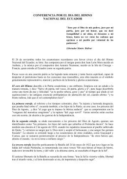 conferencia por el dia del himno nacional del ecuador