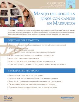 MANEJO DEL DOLOR EN NIÑOS CON CÁNCER EN MARRUECOS