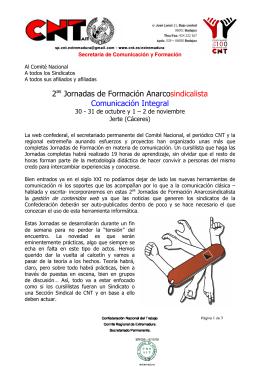 2 Jornadas de Formación Anarcosindicalista Comunicación
