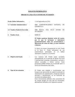 FOLLETO INFORMATIVO MBI RENTA FIJA PLUS