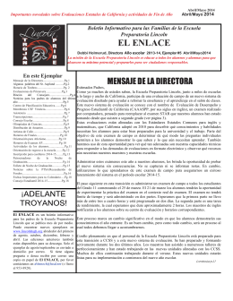 El Enlace Boletín para Padres Abril/Mayo 2014