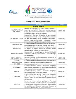 ALTERNATIVAS Y TARIFAS DE VINCULACIÓN DESCRIPCIÓN