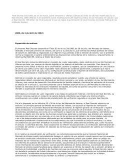 Real Decreto 291/1992, de 27 de marzo, sobre emisiones y ofertas