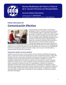 Folleto informativo #2 Comunicación Efectiva