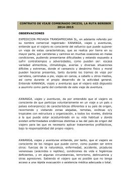 CONTRATO DE VIAJE COMBINADO IMIZIG, LA RUTA BEREBER