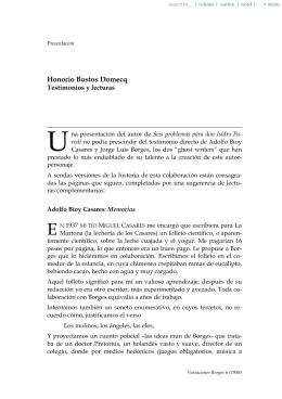 Honorio Bustos Domecq. Testimonios y lecturas