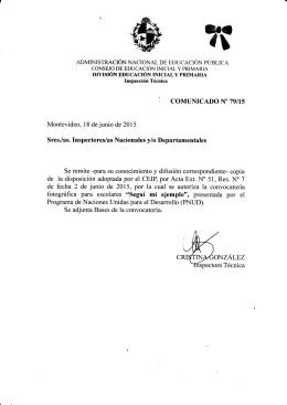 Comunicado N° 79/15 - Consejo de Educación Inicial y Primaria
