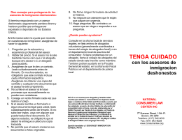 TENGA CUIDADO - National Consumer Law Center