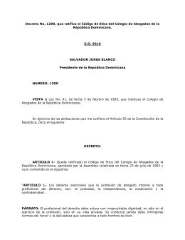 Decreto 1290-83, Codigo de Etica del Colegio de Abogados de la
