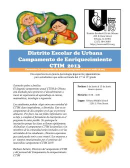 Distrito Escolar de Urbana Campamento de Enriquecimiento CTIM