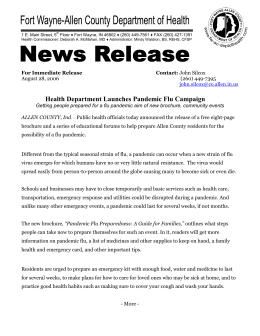 Health Department Launches Pandemic Flu Campaign