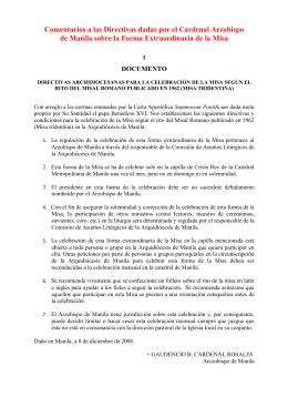 Comentarios a las Directivas dadas por el Cardenal Arzobispo de