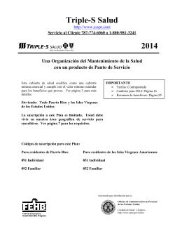 2014 Triple-S Salud FEHB Brochure (Español)