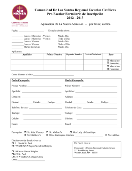 PK Spanish Reg. Form - Community of Saints Regional Catholic
