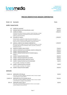 PRECIOS ORIENTATIVOS IMAGEN CORPORATIVA
