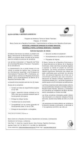 Solicitud Expresión de Interés - Banco Central de la República