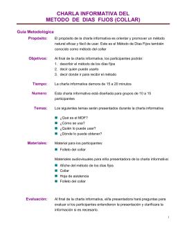 CHARLA INFORMATIVA DEL METODO DE DIAS FIJOS (COLLAR)