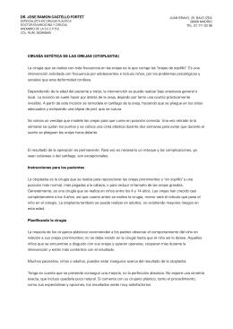 CIRUGÍA ESTÉTICA DE LAS OREJAS (OTOPLASTIA) La cirugía