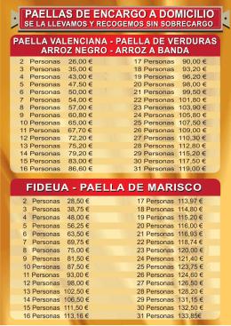 Folleto Precios Paellas - Paellas a domicilio Valencia