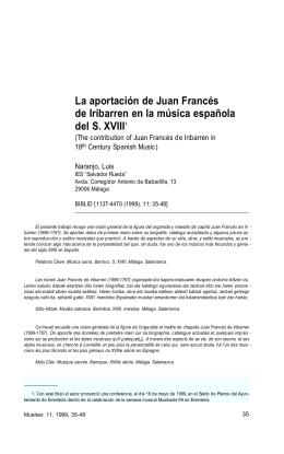 La aportación de Juan Francés de Iribarren en la música española