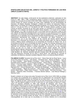 Epistolario selectivo del jurista y político Fernando de los Ríos Urruti