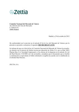 Comisión Nacional del Mercado de Valores Att. Director del Área de