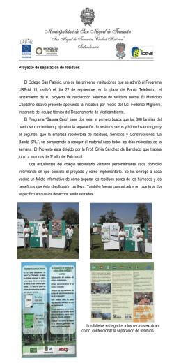 Proyecto de separación de residuos El Colegio San Patricio, una de