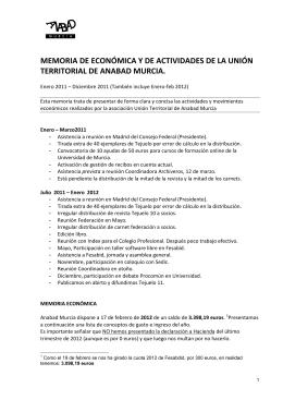 Memoria Anabad Murcia 2011 – final 19-2-2012