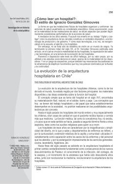 La evolución de la arquitectura hospitalaria en Chile*