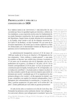 Promulgación y jura de la constitución en 1820
