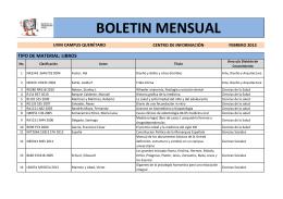 BOLETIN MENSUAL - Biblioteca UVM