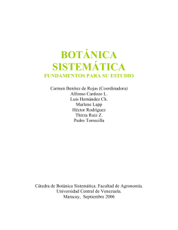 BOTÁNICA SISTEMATICA - Universidad Central de Venezuela