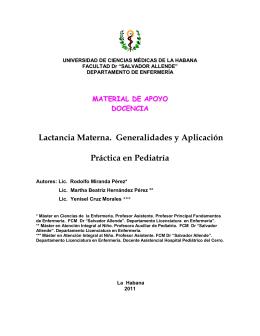 Lactancia Materna. Generalidades y Aplicación Práctica en Pediatría
