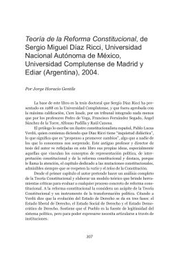 Teoría de la Reforma Constitucional, de sergio Miguel díaz ricci