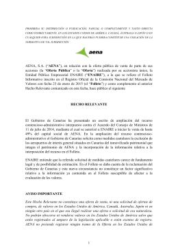 """("""" AENA""""), en relación con la oferta pública de"""