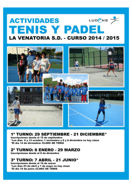 folleto venatoria TENIS Y PADEL