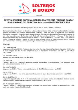 OFERTA CRUCERO ESPECIAL BARCELONA