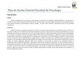 Plan de Acción Tutorial Facultad de Psicología