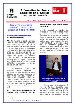 Informativo del Grupo Socialista en el Cabildo Insular de Tenerife