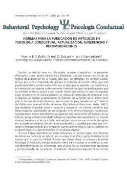 Normas de Publicación - Revista Psicología Conductual