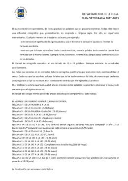 DEPARTAMENTO DE LENGUA. PLAN ORTOGRAFÍA 2012-2013