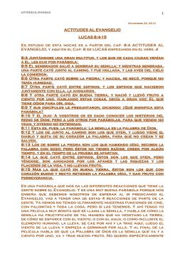 1 ACTITUDES AL EVANGELIO LUCAS 8:4-15 Es
