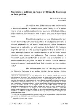 Precisiones jurídicas en torno al Obispado Castrense de la Argentina.
