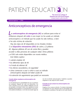 Patient Education Pamphlet, SP114, Los anticonceptivos de